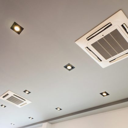 Modern ceiling mounted cassette type air conditioning system