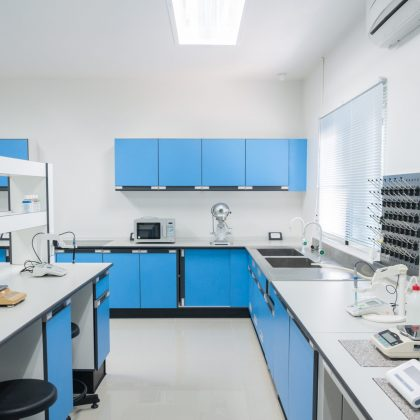 Science modern lab interior architecture with lab equipment.