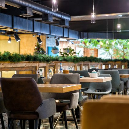 Moscow, Russia - September 30, 2018: Interior of modern loft style restaurant